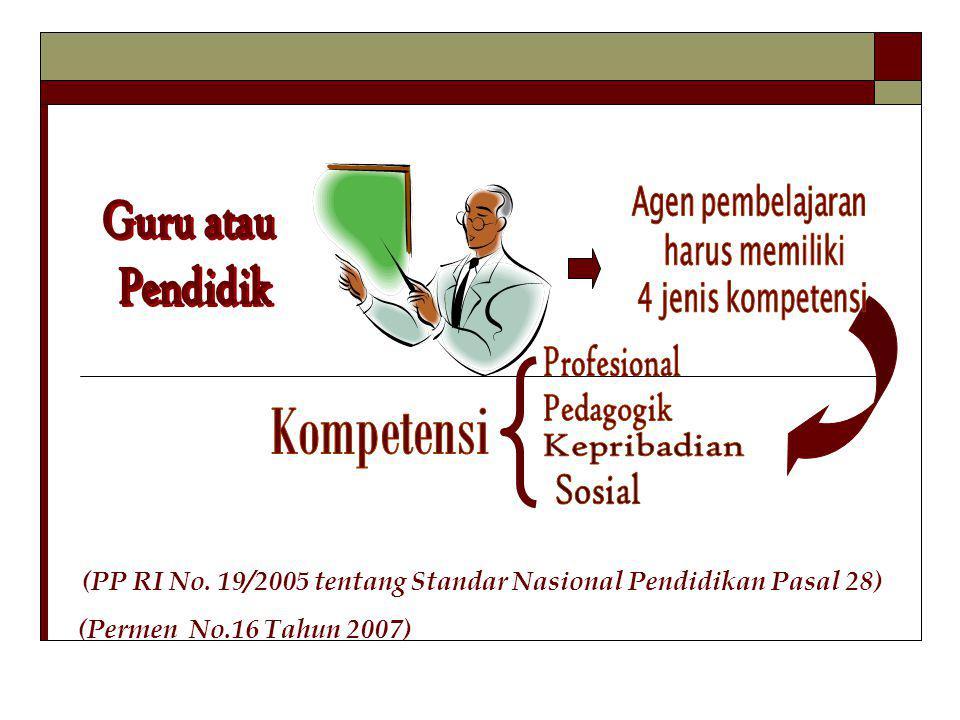 (Permen No.16 Tahun 2007) Guru atau Pendidik Kompetensi
