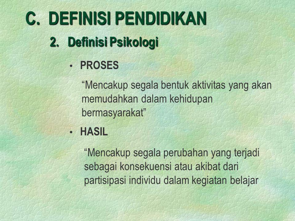 C. DEFINISI PENDIDIKAN 2. Definisi Psikologi