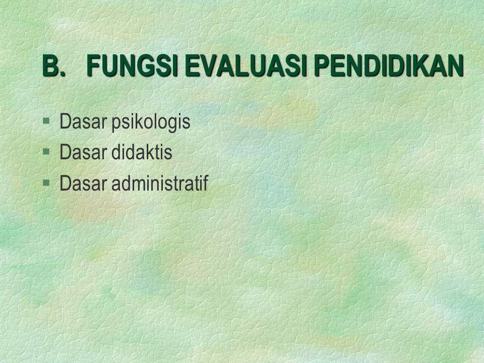 B. FUNGSI EVALUASI PENDIDIKAN