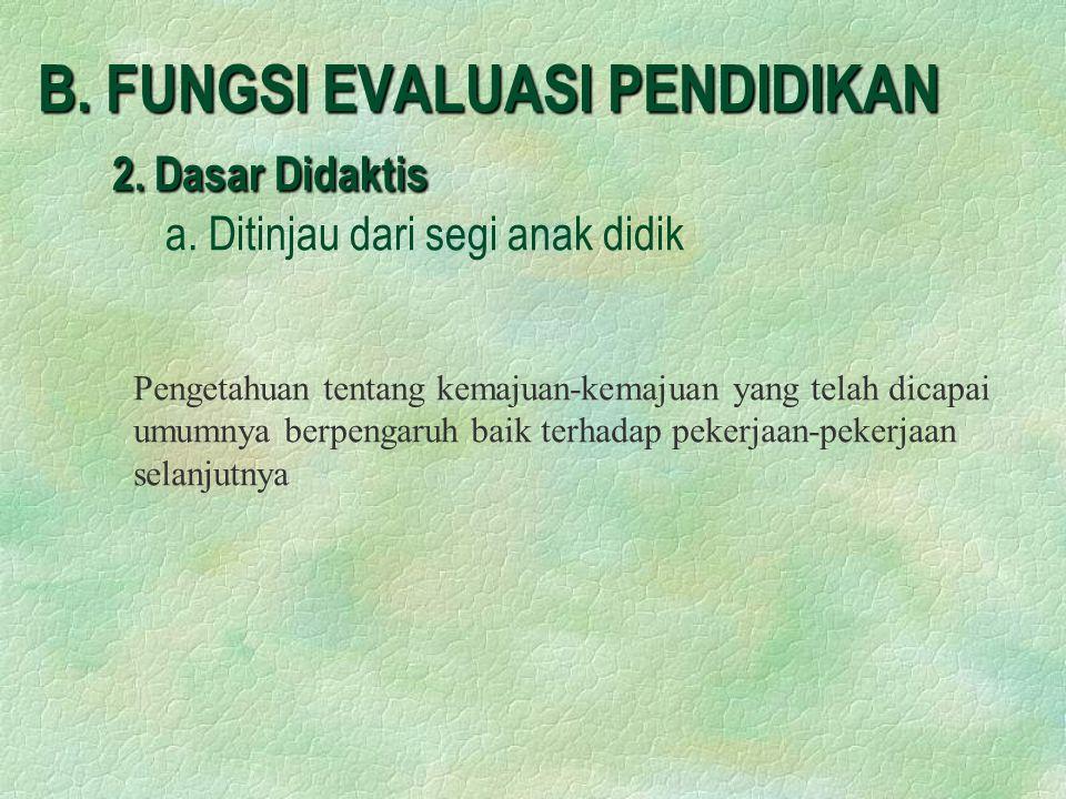 B. FUNGSI EVALUASI PENDIDIKAN 2. Dasar Didaktis. a