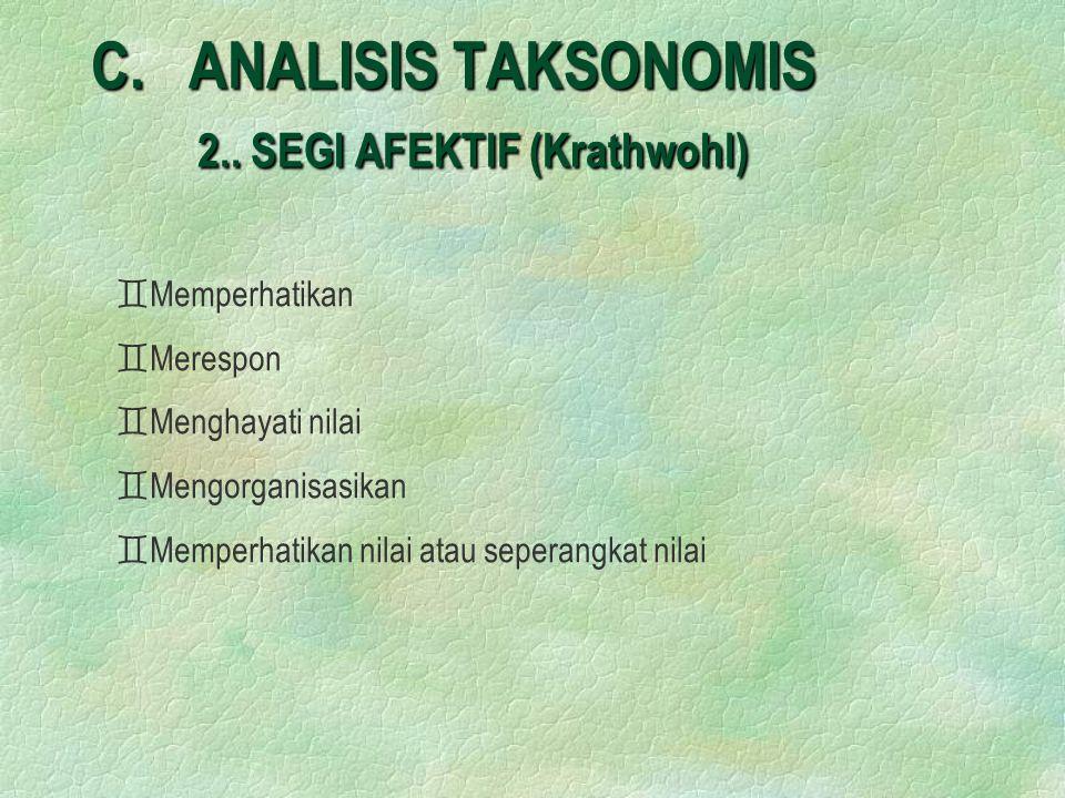 C. ANALISIS TAKSONOMIS 2.. SEGI AFEKTIF (Krathwohl)