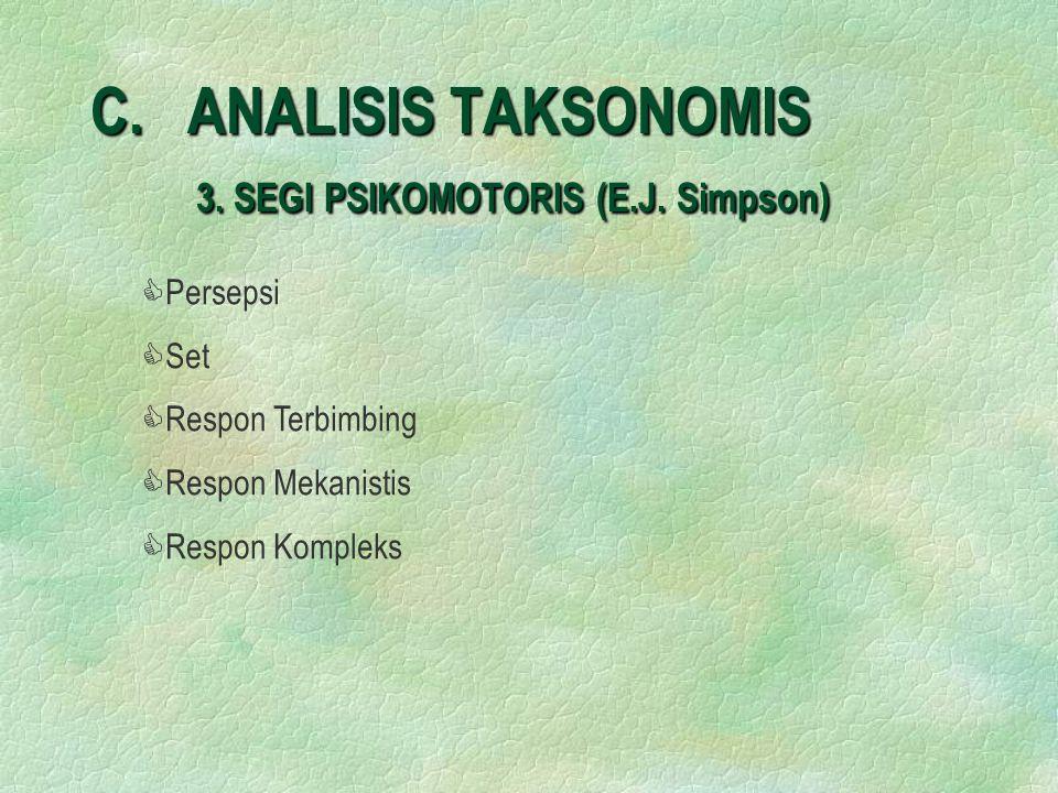 C. ANALISIS TAKSONOMIS 3. SEGI PSIKOMOTORIS (E.J. Simpson)