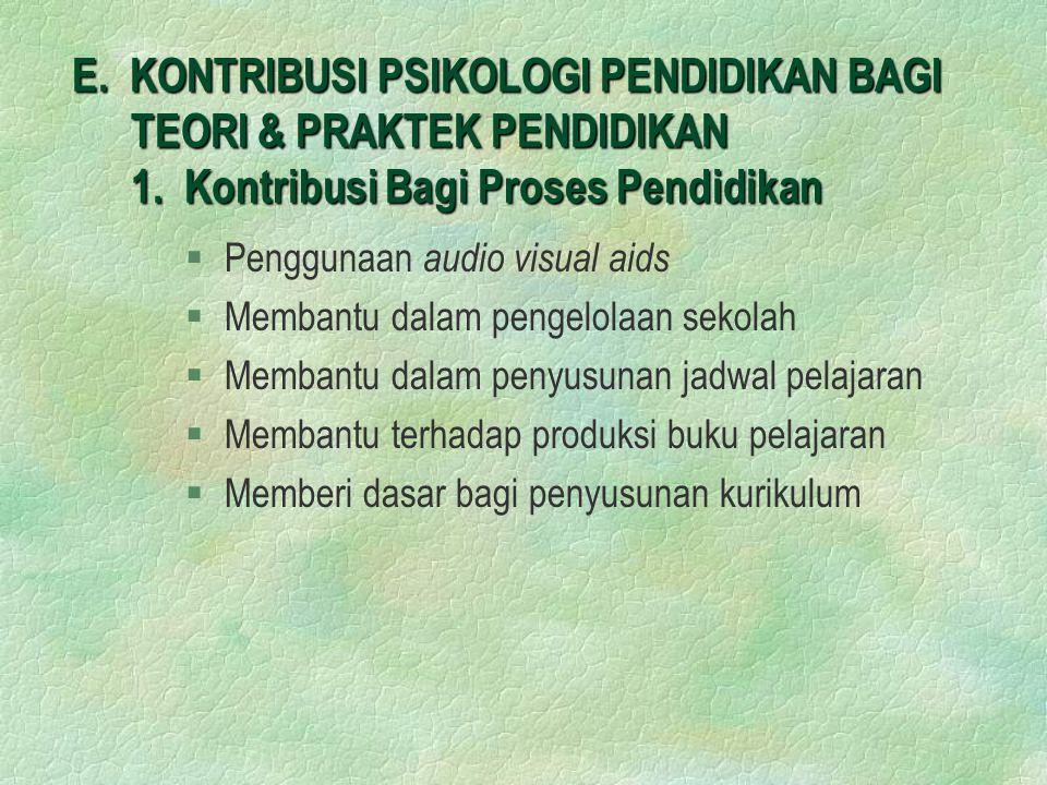 E. KONTRIBUSI PSIKOLOGI PENDIDIKAN BAGI TEORI & PRAKTEK PENDIDIKAN 1