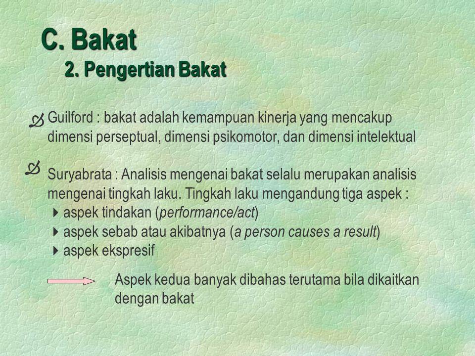 C. Bakat 2. Pengertian Bakat