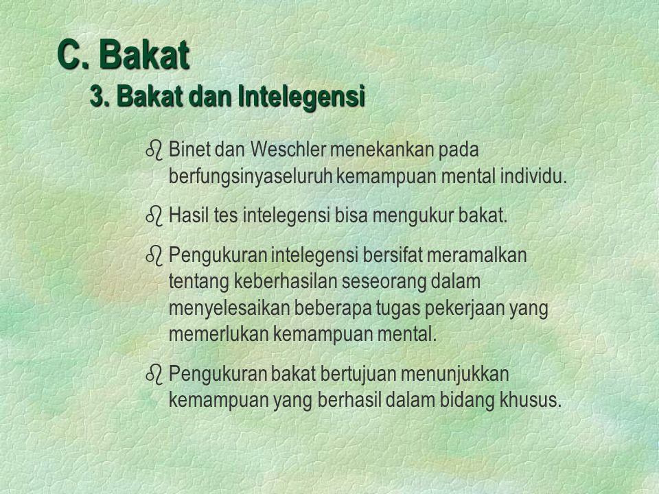 C. Bakat 3. Bakat dan Intelegensi