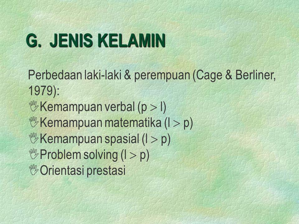 G. JENIS KELAMIN Perbedaan laki-laki & perempuan (Cage & Berliner, 1979): Kemampuan verbal (p  l)