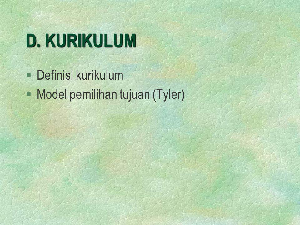 D. KURIKULUM Definisi kurikulum Model pemilihan tujuan (Tyler)