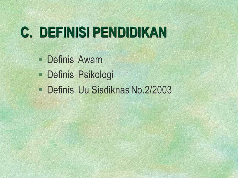 C. DEFINISI PENDIDIKAN Definisi Awam Definisi Psikologi