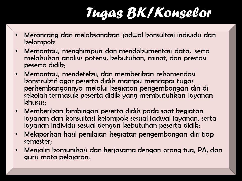 Tugas BK/Konselor Merancang dan melaksanakan jadwal konsultasi individu dan kelompok.