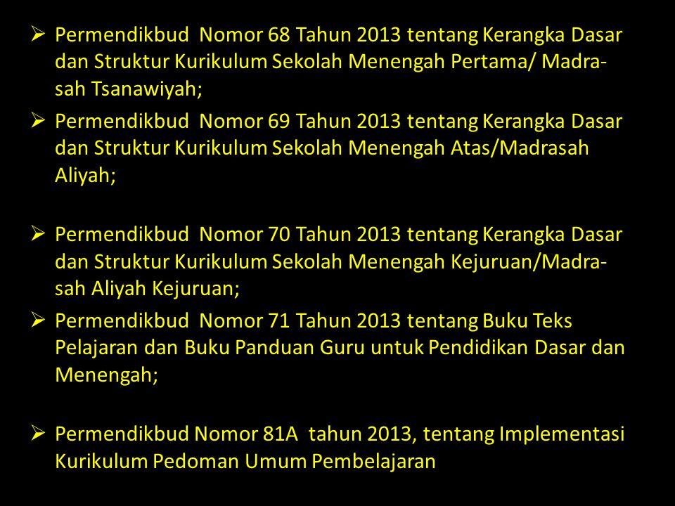Permendikbud Nomor 68 Tahun 2013 tentang Kerangka Dasar dan Struktur Kurikulum Sekolah Menengah Pertama/ Madra-sah Tsanawiyah;