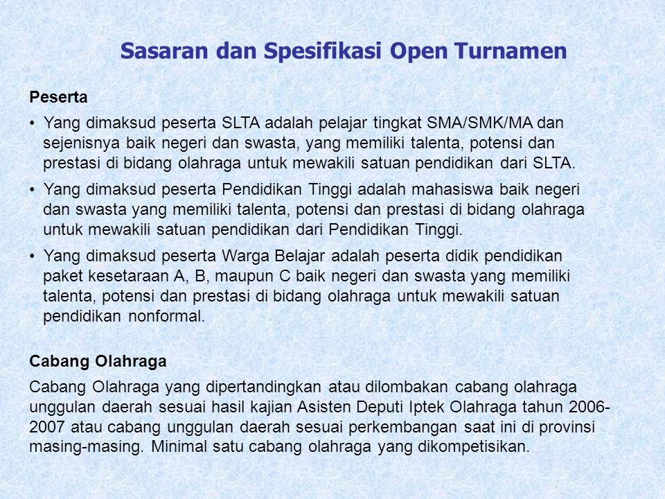 Sasaran dan Spesifikasi Open Turnamen