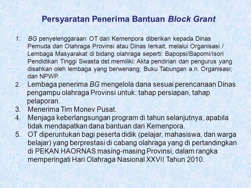 Persyaratan Penerima Bantuan Block Grant