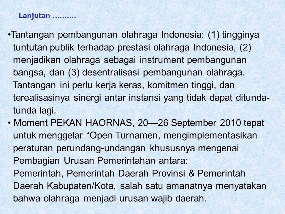 Tantangan pembangunan olahraga Indonesia: (1) tingginya