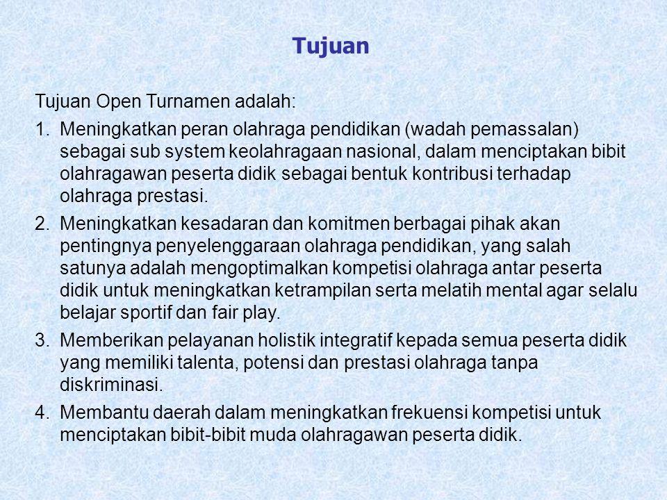 Tujuan Tujuan Open Turnamen adalah: