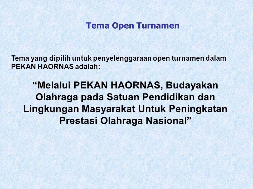 Tema Open Turnamen Tema yang dipilih untuk penyelenggaraan open turnamen dalam PEKAN HAORNAS adalah: