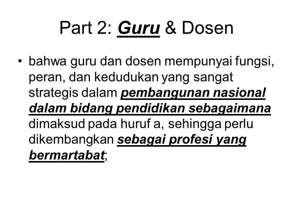 Part 2: Guru & Dosen