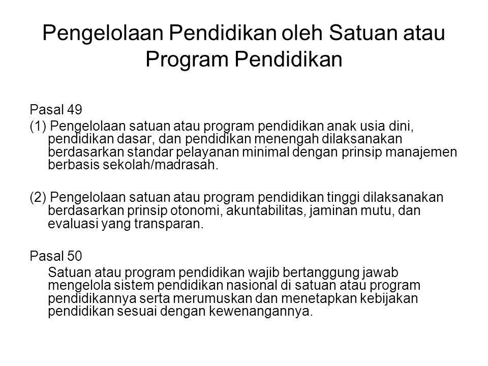 Pengelolaan Pendidikan oleh Satuan atau Program Pendidikan