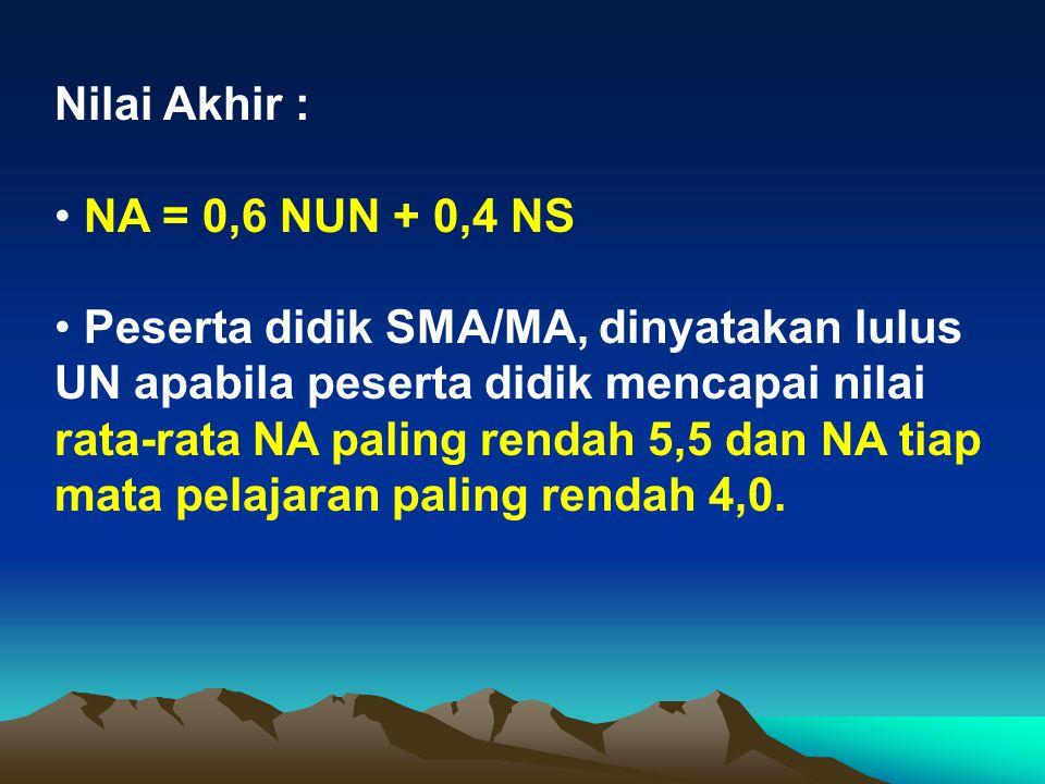 Nilai Akhir : • NA = 0,6 NUN + 0,4 NS.