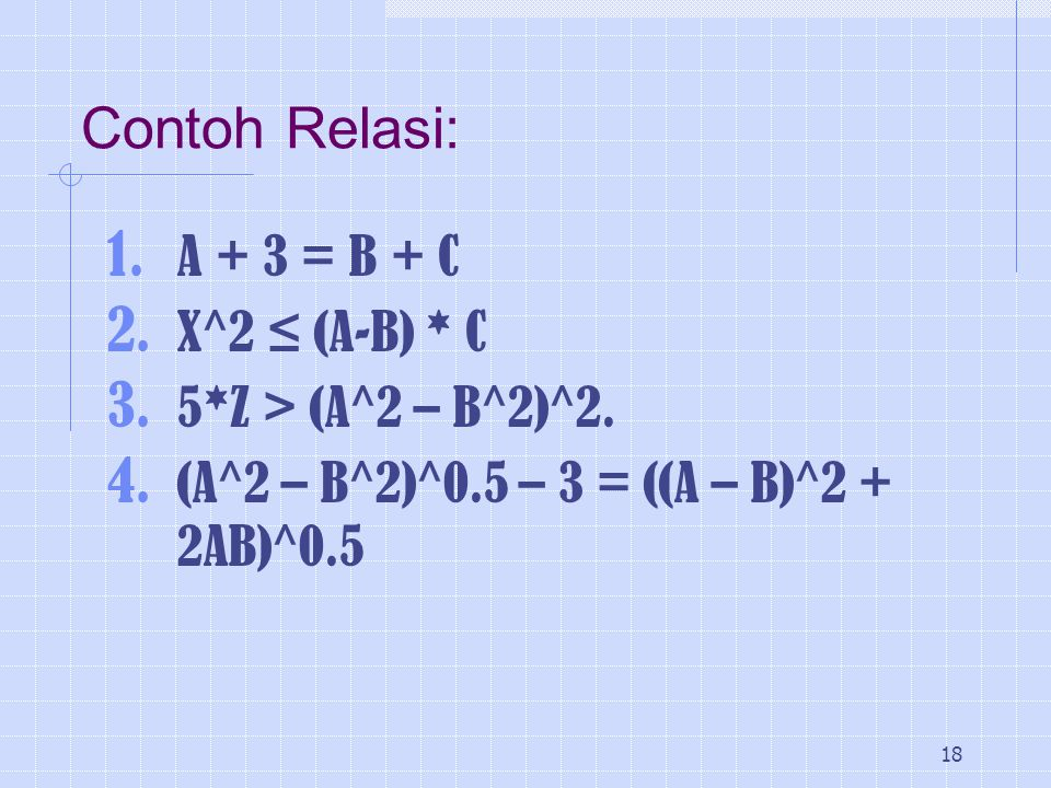 Contoh Relasi: A + 3 = B + C X^2 ≤ (A-B) * C 5*Z > (A^2 – B^2)^2.