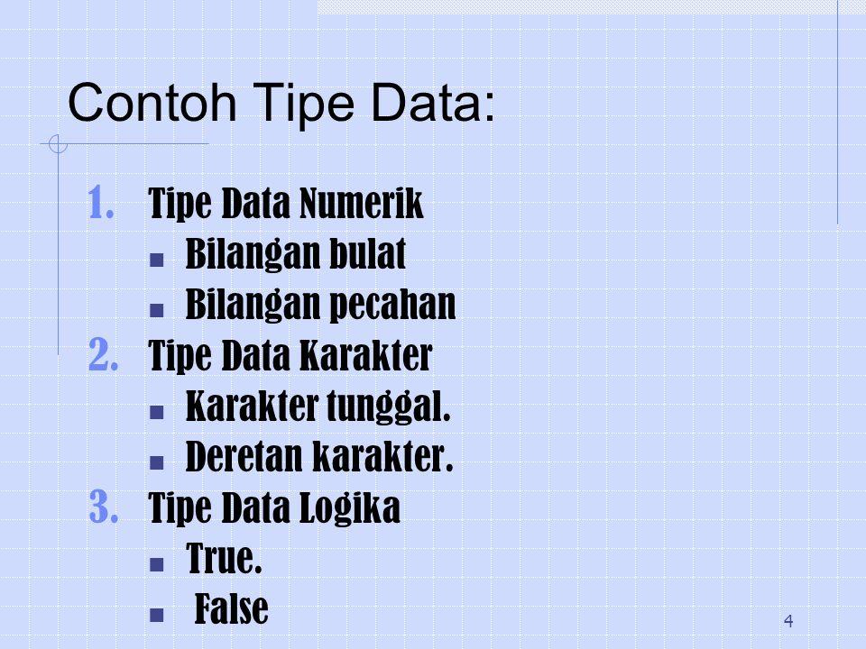 Contoh Tipe Data: Tipe Data Numerik Bilangan bulat Bilangan pecahan