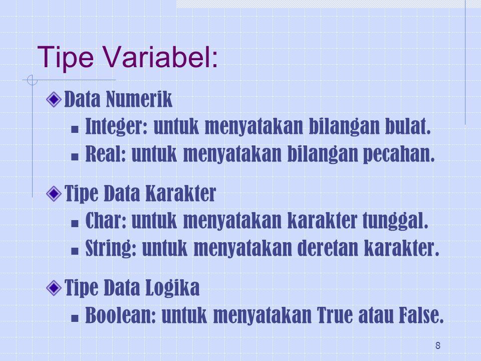 Tipe Variabel: Data Numerik Integer: untuk menyatakan bilangan bulat.