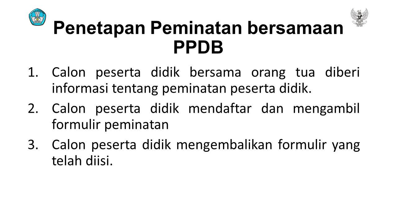 Penetapan Peminatan bersamaan PPDB