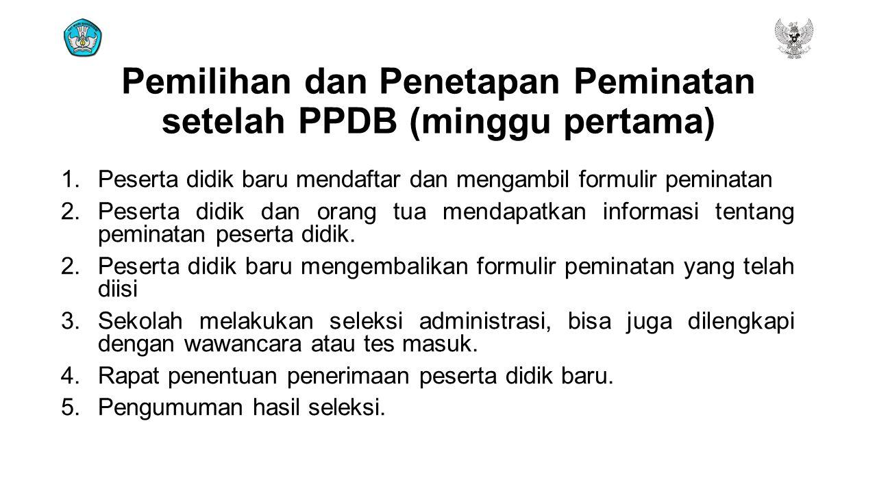 Pemilihan dan Penetapan Peminatan setelah PPDB (minggu pertama)