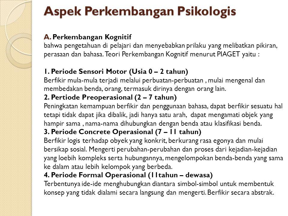 Aspek Perkembangan Psikologis A