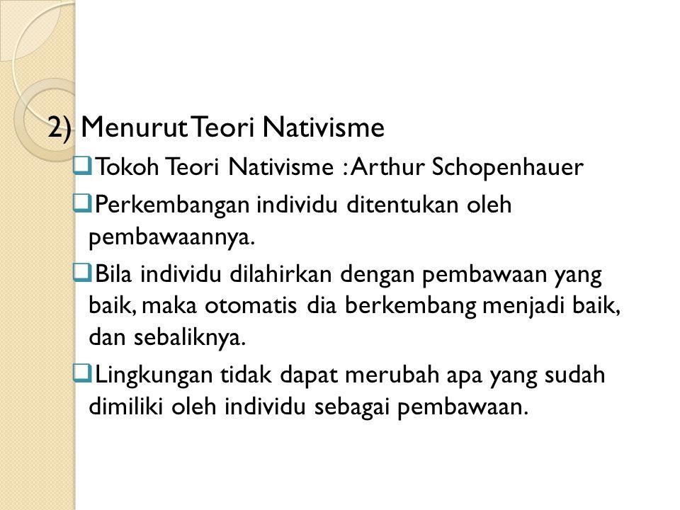 2) Menurut Teori Nativisme