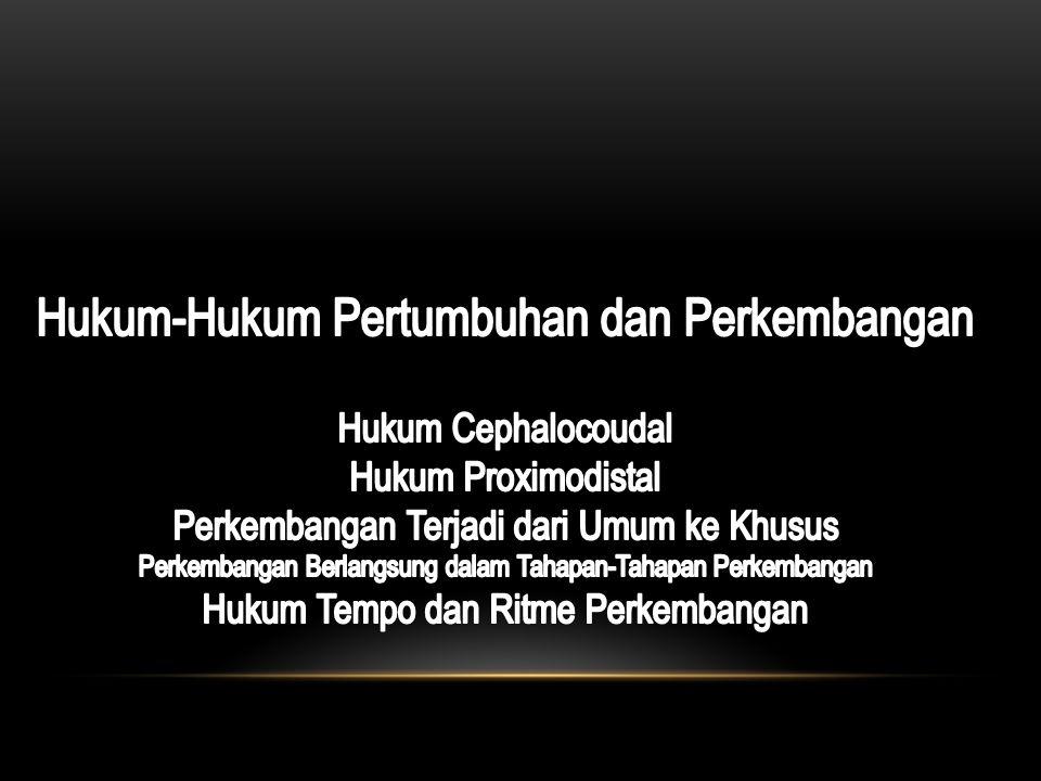 Hukum-Hukum Pertumbuhan dan Perkembangan Hukum Cephalocoudal Hukum Proximodistal Perkembangan Terjadi dari Umum ke Khusus Perkembangan Berlangsung dalam Tahapan-Tahapan Perkembangan Hukum Tempo dan Ritme Perkembangan