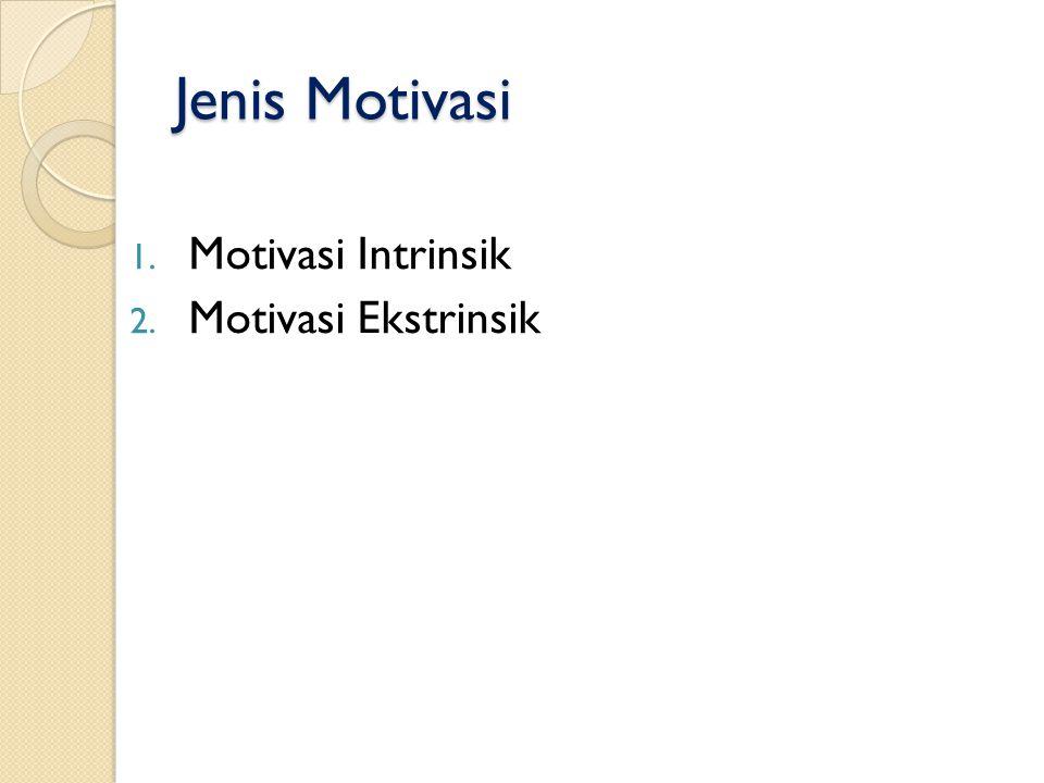 Jenis Motivasi Motivasi Intrinsik Motivasi Ekstrinsik