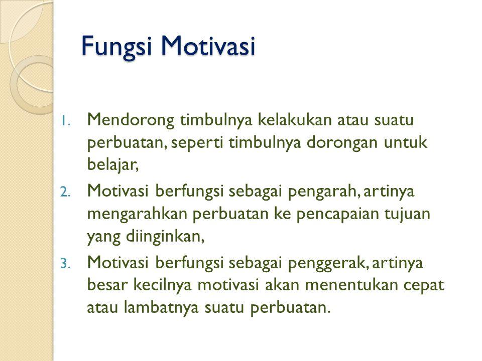 Fungsi Motivasi Mendorong timbulnya kelakukan atau suatu perbuatan, seperti timbulnya dorongan untuk belajar,