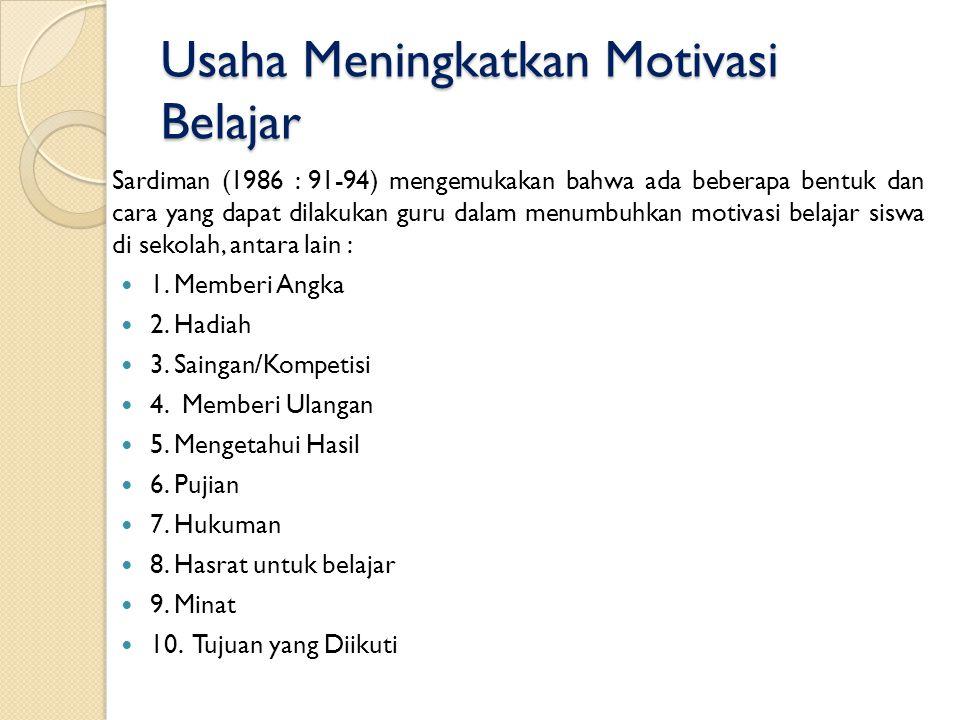 Usaha Meningkatkan Motivasi Belajar