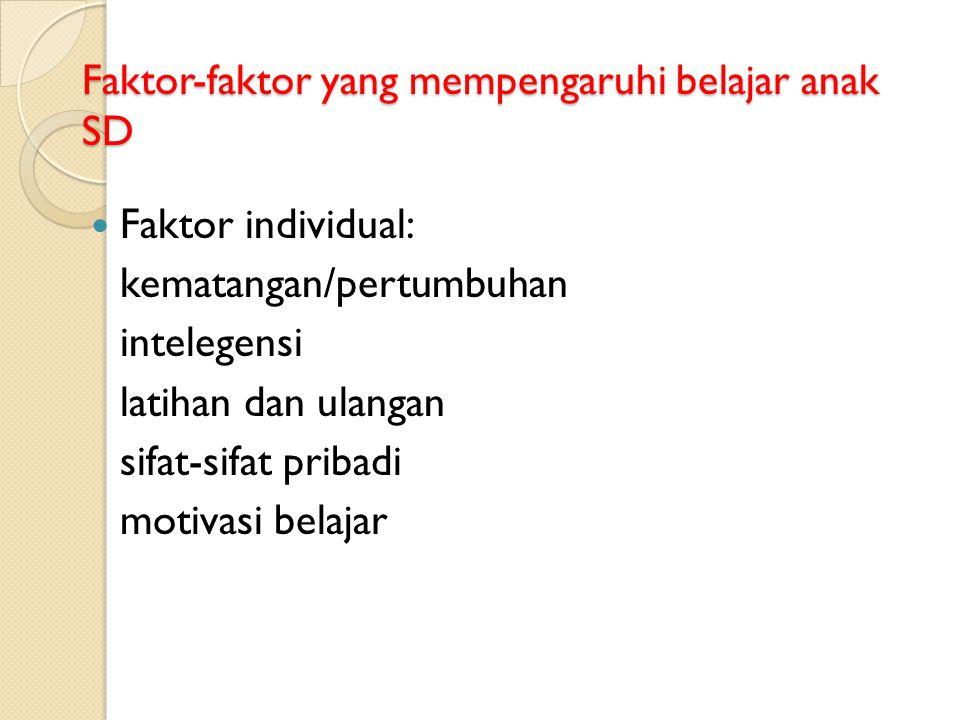 Faktor-faktor yang mempengaruhi belajar anak SD