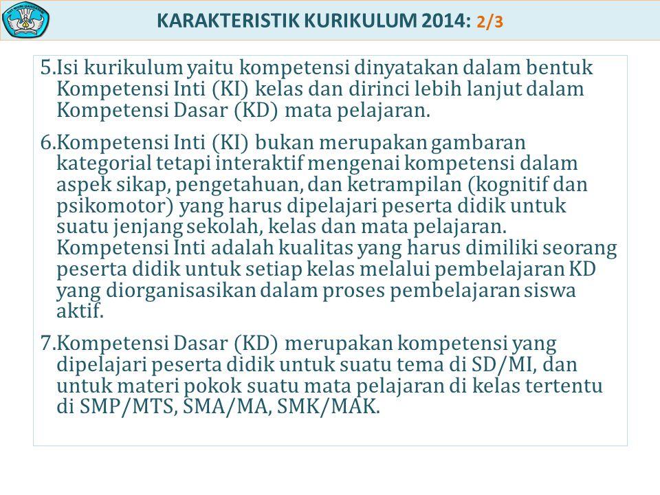 KARAKTERISTIK KURIKULUM 2014: 2/3