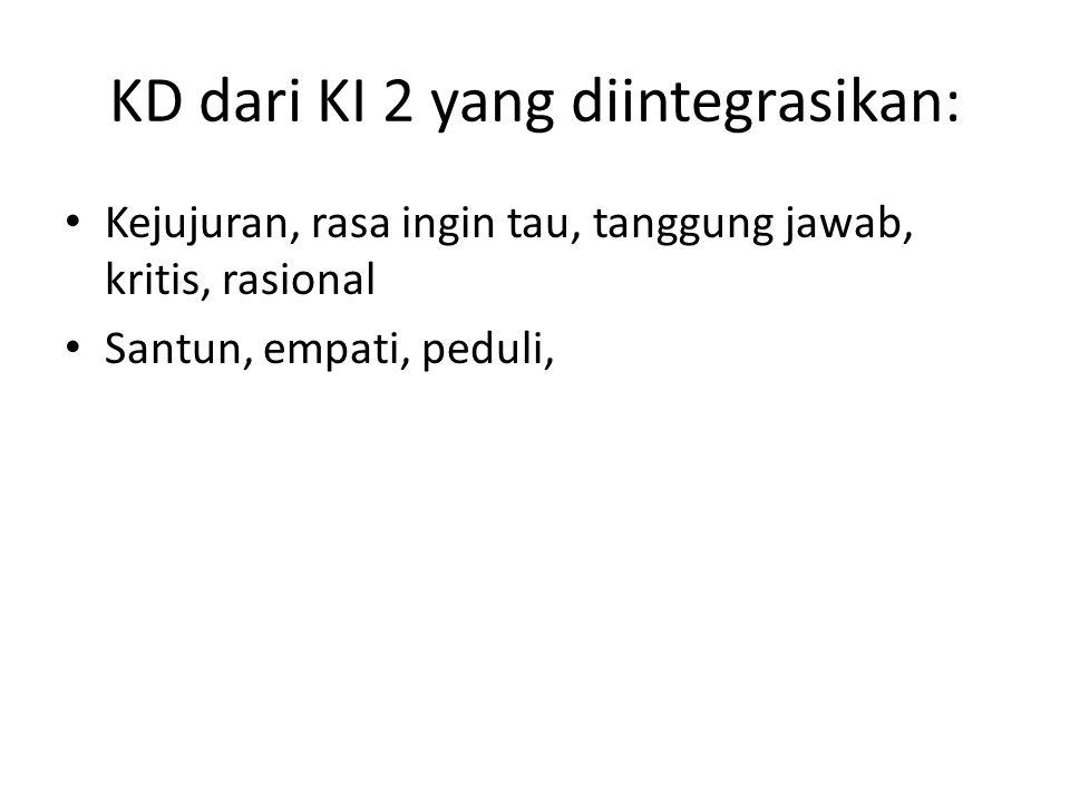 KD dari KI 2 yang diintegrasikan: