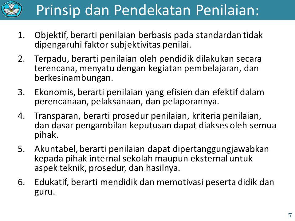 Prinsip dan Pendekatan Penilaian: