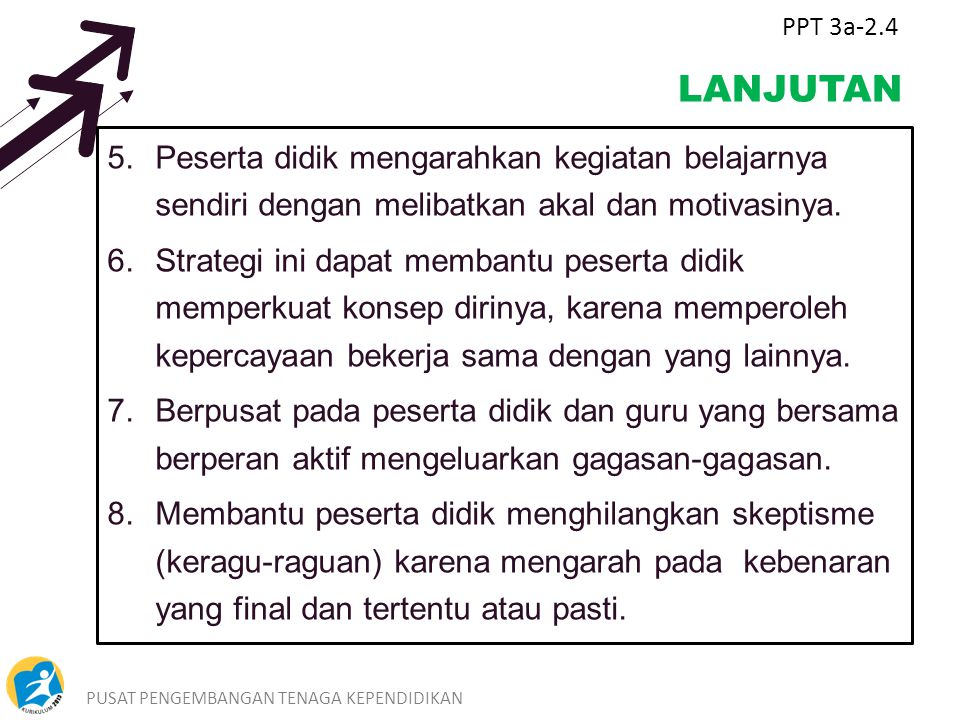 PPT 3a-2.4 LANJUTAN. Peserta didik mengarahkan kegiatan belajarnya sendiri dengan melibatkan akal dan motivasinya.