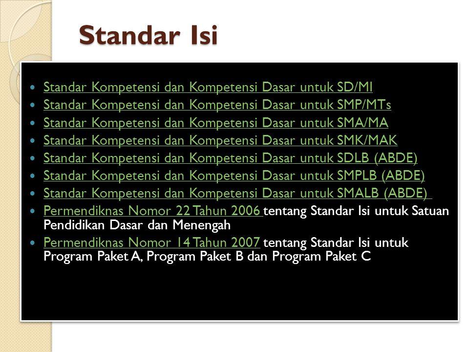Standar Isi Standar Kompetensi dan Kompetensi Dasar untuk SD/MI