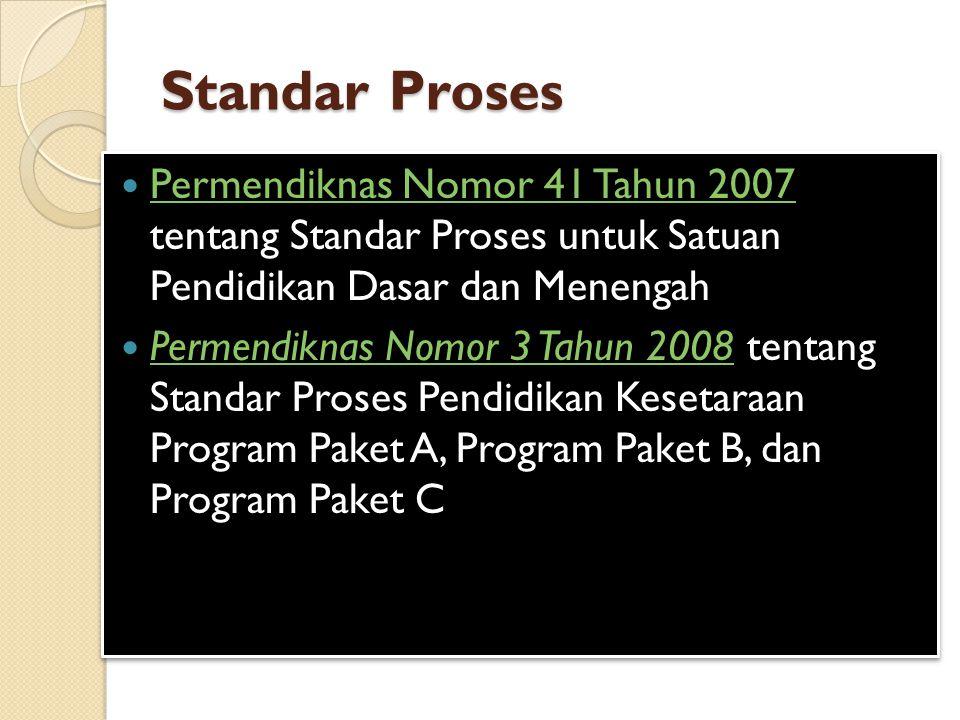 Standar Proses Permendiknas Nomor 41 Tahun 2007 tentang Standar Proses untuk Satuan Pendidikan Dasar dan Menengah.