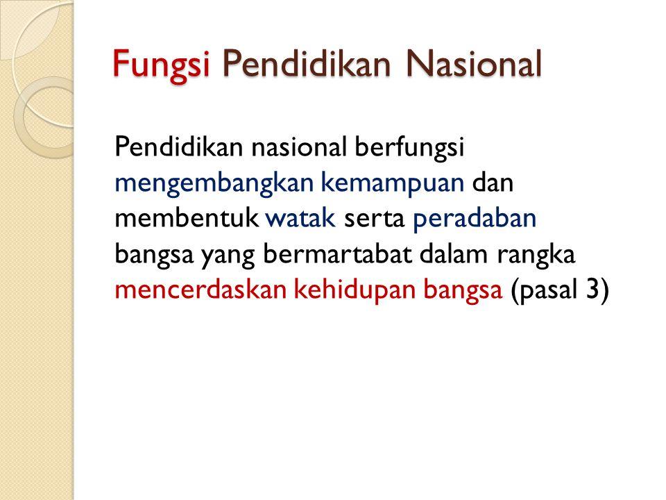 Fungsi Pendidikan Nasional