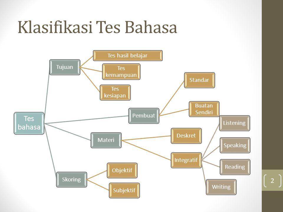 Klasifikasi Tes Bahasa
