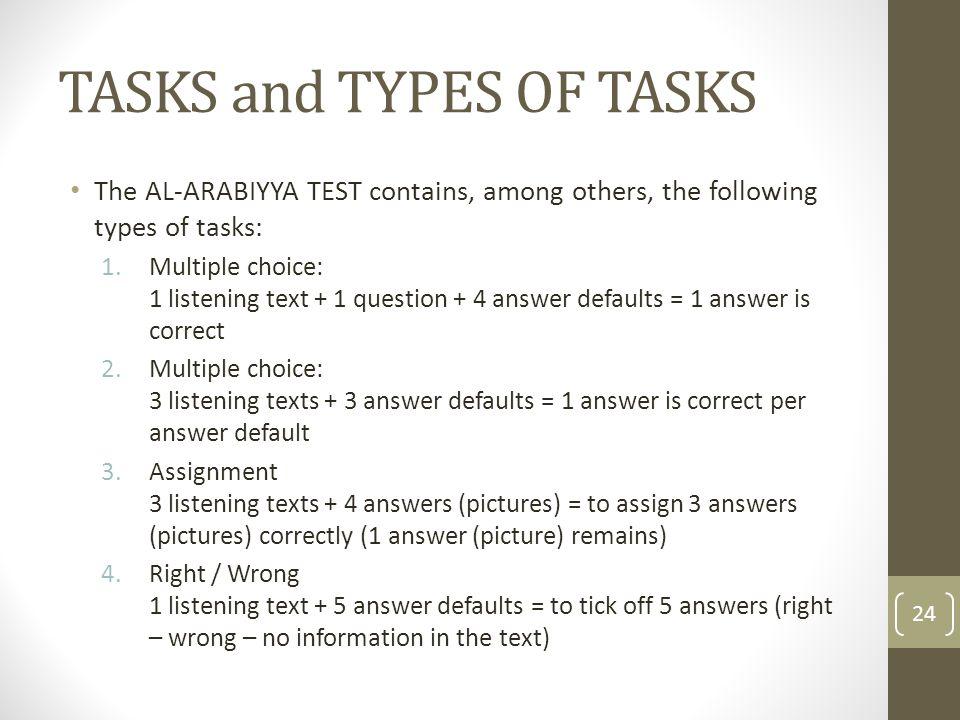 TASKS and TYPES OF TASKS
