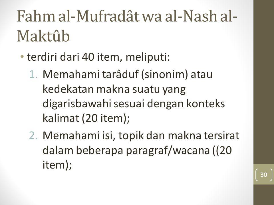 Fahm al-Mufradât wa al-Nash al-Maktûb