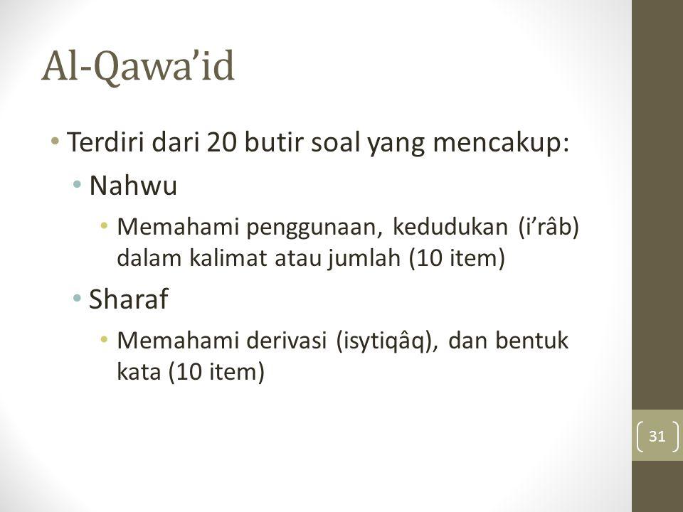 Al-Qawa'id Terdiri dari 20 butir soal yang mencakup: Nahwu Sharaf