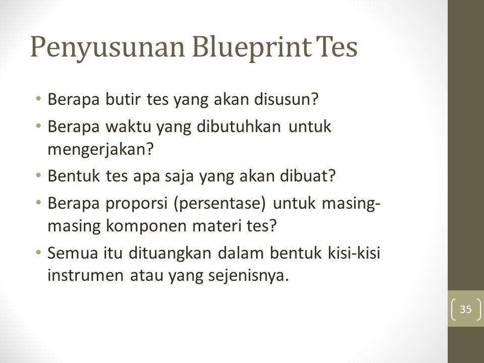 Penyusunan Blueprint Tes