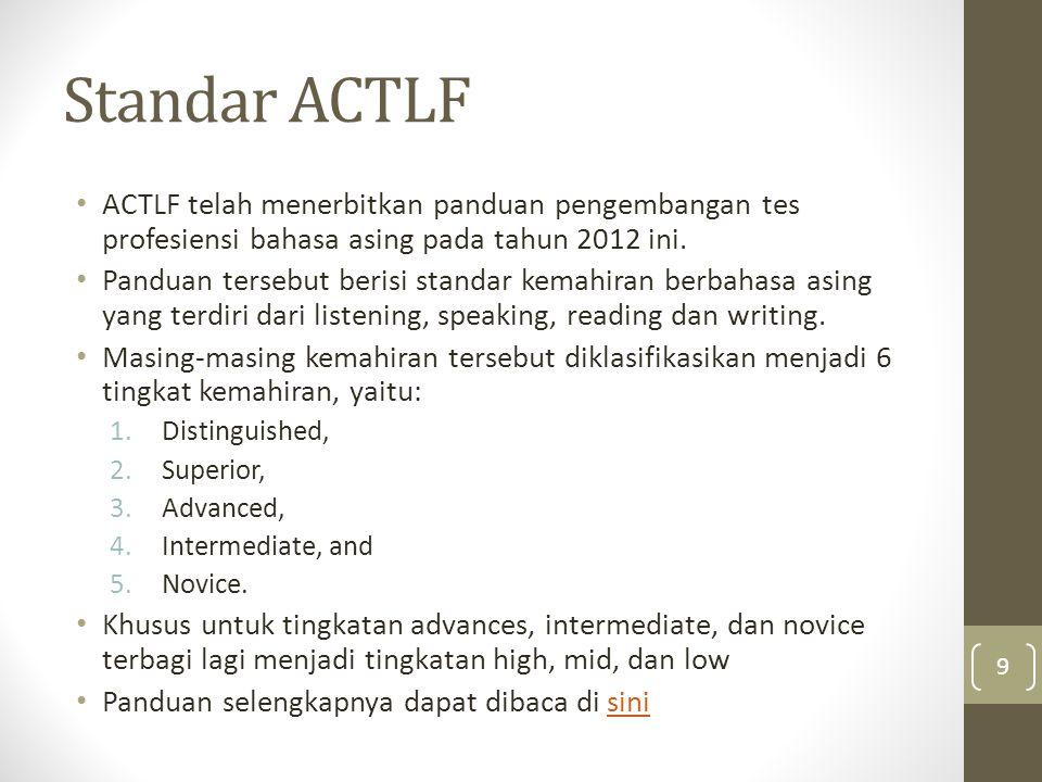 Standar ACTLF ACTLF telah menerbitkan panduan pengembangan tes profesiensi bahasa asing pada tahun 2012 ini.