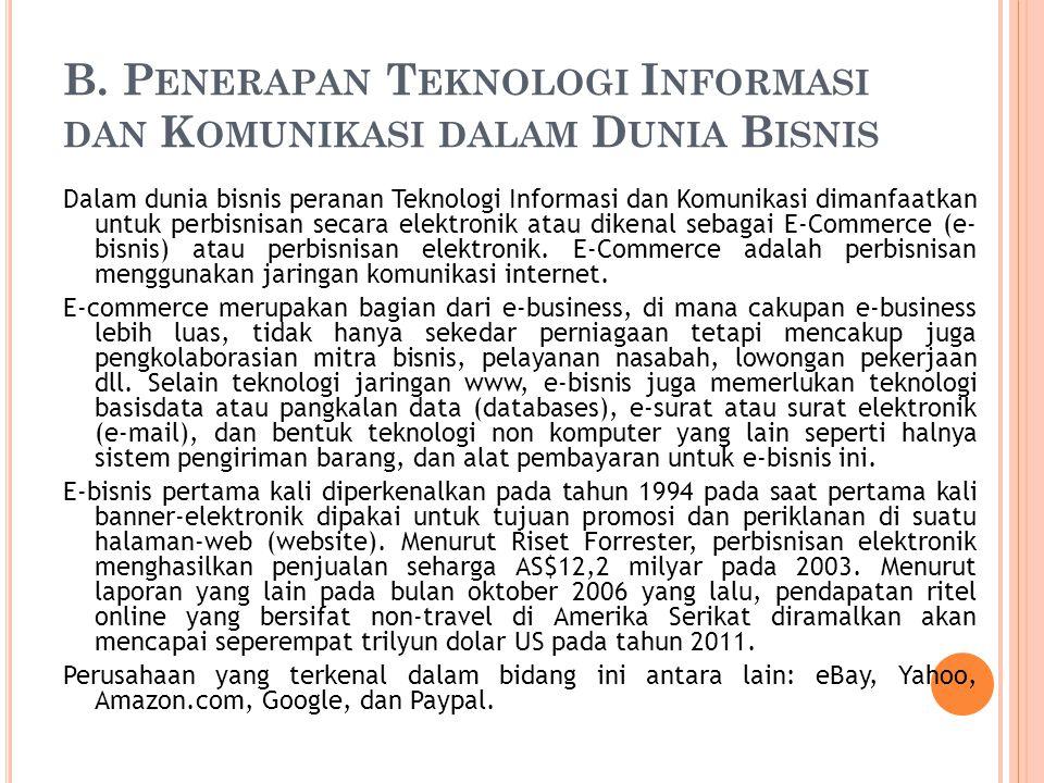 B. Penerapan Teknologi Informasi dan Komunikasi dalam Dunia Bisnis