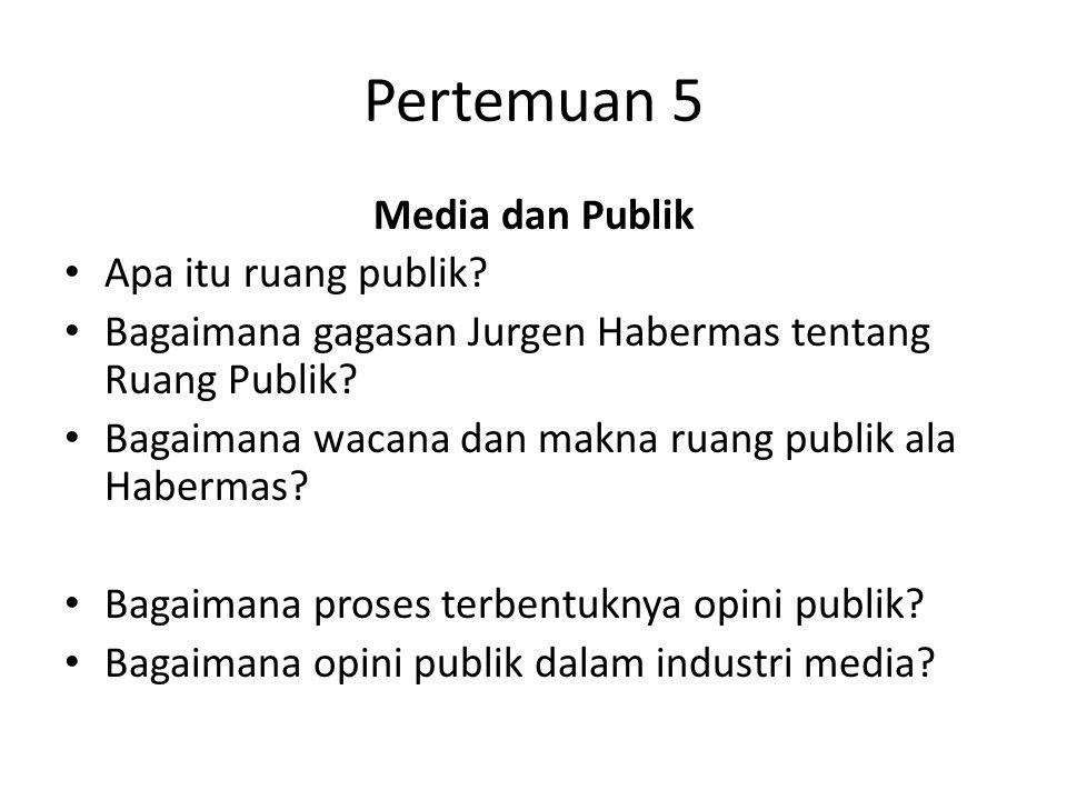 Pertemuan 5 Media dan Publik Apa itu ruang publik