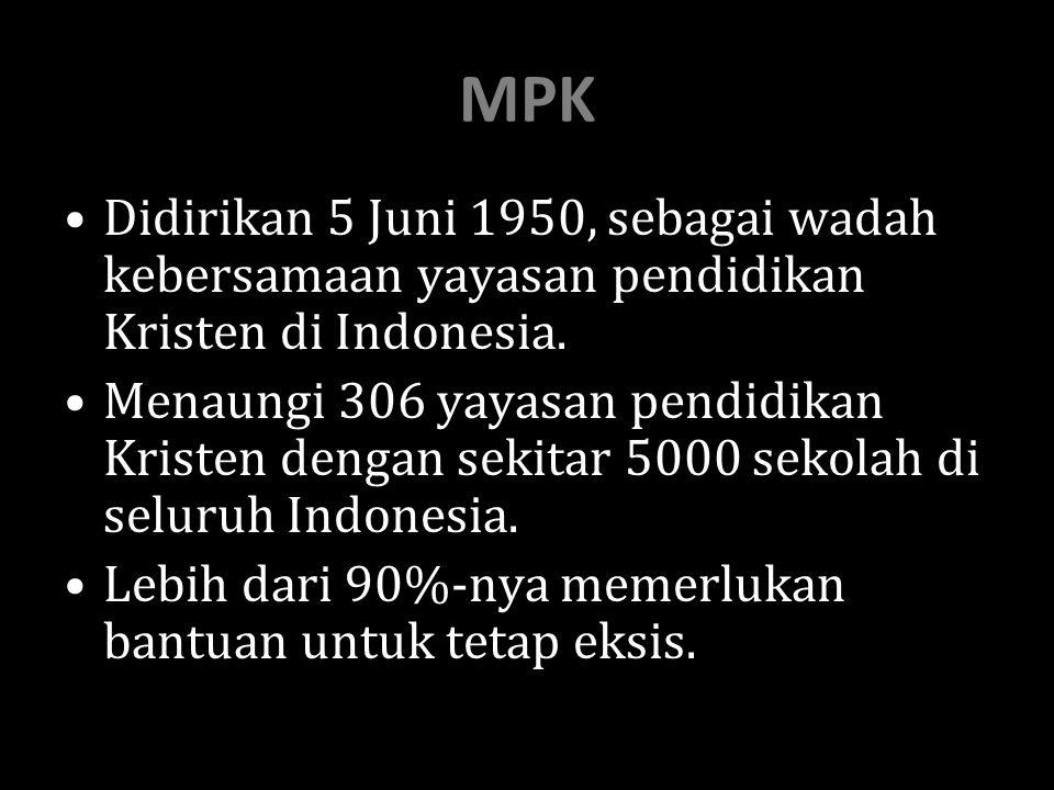 MPK Didirikan 5 Juni 1950, sebagai wadah kebersamaan yayasan pendidikan Kristen di Indonesia.
